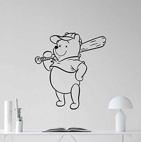 Winnie The Pooh Wall Decal Baseball Sport Walt Disney Sign Gift Vinyl Sticker Cartoon Print Wall Art Design Baby Room Kids Decor Children Nursery Poster Custom Mural 68thn