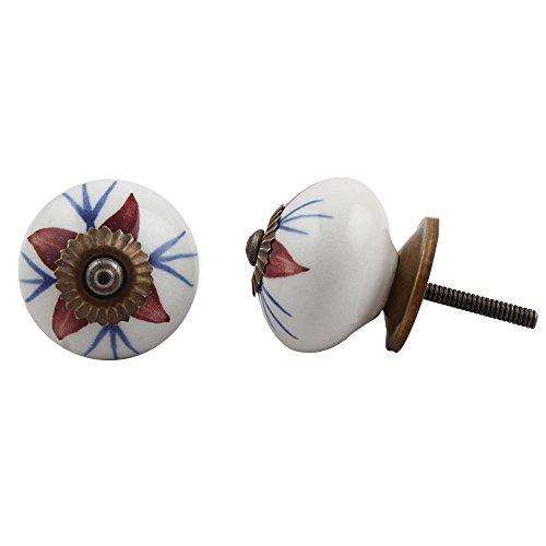 4 piezas de cerámica artesanal Indianshelf profundo granate Lily cajón archivador pomos de puertas armario APARADOR Aparador tira de nuevo en línea