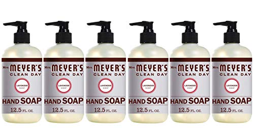 Mrs. Meyer's Clean Day Liquid Hand Soap, Cruelty Free and Biodegradable Hand Wash Made with Essential Oils, Lavender Scent, 12.5 oz - Pack of 6
