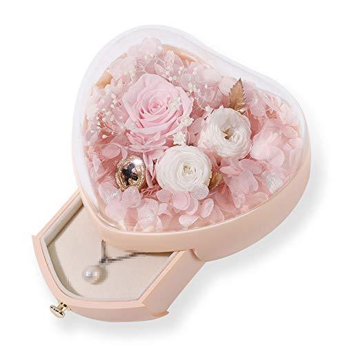 TWW Caja De Flores Preservadas En Forma De Corazón Caja De Regalo De Vaso Creativo para Boda Caja De Joyería Caja De Regalo De San Valentín Regalos para Amantes,Rosado