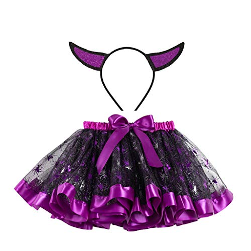 Riou Vestido Princesa para Nias Halloween Lentejuelas de Dibujos Animados para Nios Falda Malla Pettiskirt + Diadema Traje de Dos Piezas
