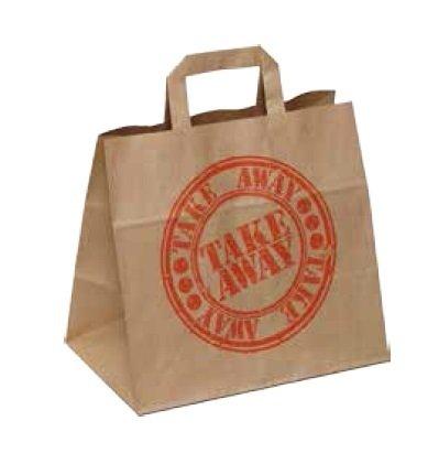 250 Papiertragetaschen Papiertüten Lunchtüten Doggybags Tragetaschen aus Papier für Fast Food & Take Away stabil und modern, braun, 26+17x25cm / 260+170x250mm0g/m²