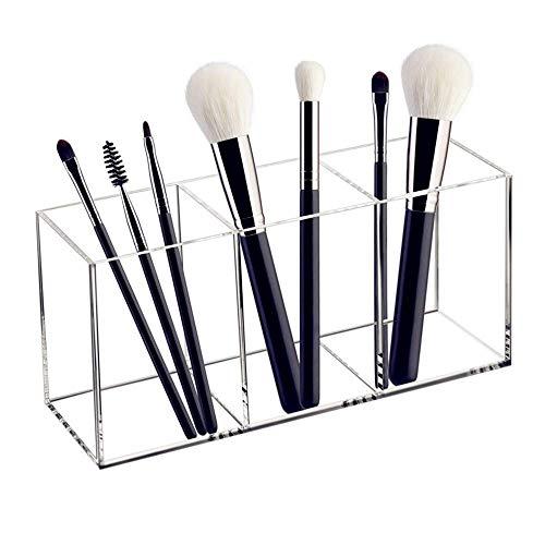 Le porte-pinceau de maquillage en acrylique a 3 positions pour ranger les pinceaux de maquillage, les brosses à dents et les accessoires, le comptoir, les bijoux (transparent)