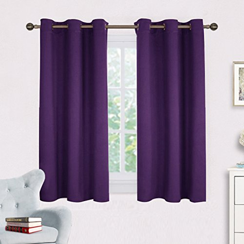 NICETOWN Blackout Curtain Panels for Kids Room, Triple Weave Home Decoration Thermal Insulated Solid Ring Top Blackout Curtains/Drapes (Set of 2,42 x 54 Inch,Royal Purple)