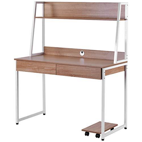 GoodFaith - Scrivania in legno MDF e acciaio, per ufficio, casa, scrivania per computer con ripiani, 2 cassetti, ripiani per libri, foto, grande superficie 120 x 55 x 145 cm