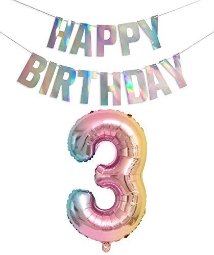 PIXHOTUL 40 Zoll große Regenbogen-Farbverlaufszahlen 0-9 Folienballons und schillernde Happy Birthday Banner-Kits für Geburtstagsfeierzubehör für Mädchen und Jungen (Number 3)