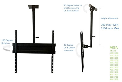 Smart Shelter Premium LCD/LED/Plasma TV Height Adjustable Ceiling/Roof Mount Stand