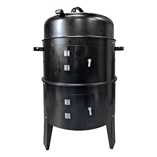 バーベキューコンロ マルチコンロ 薪ストーブ 炭受け皿付き 燻製器グリラー 組立式 (ad134ブラック) [並行輸入品]