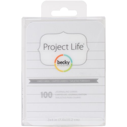 Becky Higgins 93707 Project Life Cards Accessories-3 x 4-Lined-Double-Sided-White (100 Pieces)