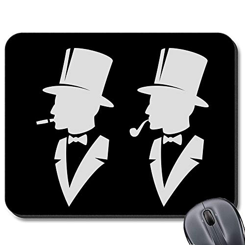 Mauspad für Computer/Notebook/Mac, rutschfeste Gummiunterseite, Motiv Mann im Hut 19,1 x 23,4 cm