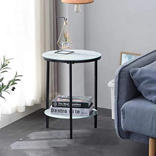 GOLDFAN Beistelltisch Rund Klein Couchtisch Glas Wohnzimmertisch Sofatisch Kaffeetisch Telefontisch Marmor 40x40x55cm