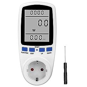 otutun Medidor de Electricidad, Medidor de Consumo de Energía, Enchufe Medidor de Costo de Electricidad con Pantalla LCD, Reteción de Datos Medidor de Energía, protección contra sobrecarga, 3680W