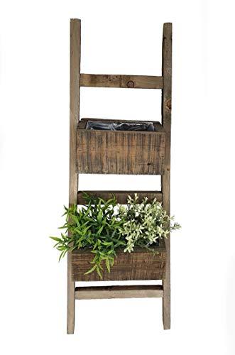 Spetebo Blumenständer Holzleiter 80 cm aus altem Holz - 2 Pflanzkästen - Deko Blumenleiter Blumentreppe Pflanztreppe