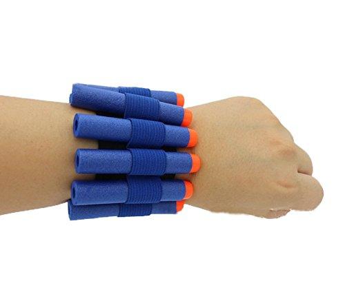 HONGCI blaue Schaumstoffdarts + Handgelenksgürtel zur Lagerung, für Kinder, 7,2 cm, für Nerf Guns und N-Strike Elite Blaster, 50 Stück
