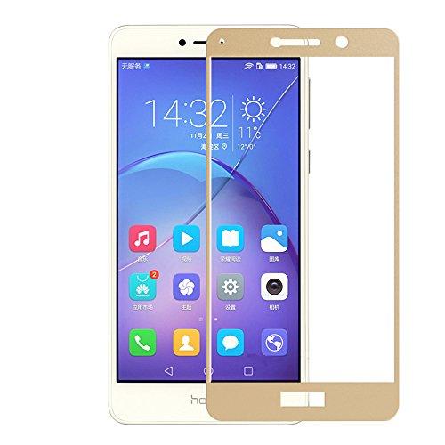 【2枚入り】HUAWEI Honor 6X ガラスフィルム 炭素繊維 全面保護フィルム 超薄 日本製旭硝子素材 硬度9H 99%高透過率 耐衝撃 指紋防止 気泡ゼロ 全面フィルム ファーウェイフルカバー 2.5D ラウンドエッジ加工Huawei Honor 6X 用 (Honor 6X ゴールド)