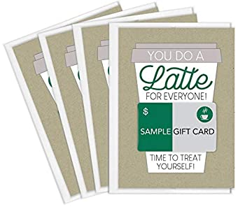Tiny Expressions Thanks a Latte Coffee Gift Card Holders Set of 4 with Envelopes