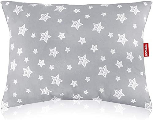 Print Toddler Pillow, Toddler Pillow for Sleeping, Ultra Soft Kids Pillows for Sleeping, 14 x 19 inch Perfect for Travel, Toddler Cot, Baby Crib, No Pillowcase Needed (Star)
