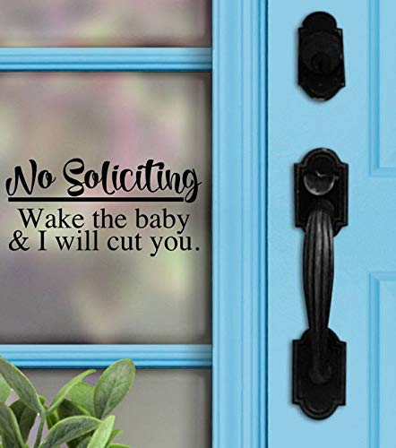 Geen verzoekende sticker - geen verzoekende wake de baby & ik zal knippen u. - Voordeur - Geen aanroepteken - Home Decor - Porch Sign - Deur Decal 4 inches - 2 Packs 10 inches Meerkleurig