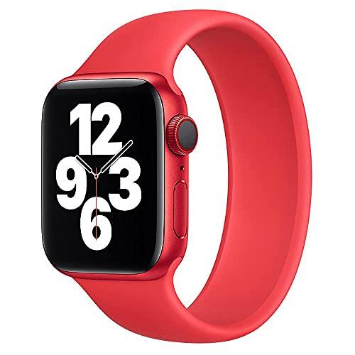 Deportiva Correa de Compatible con Apple Watch 38mm 40mm, Correas Solo Loop de Silicona Compatible con Apple Watch SE/iWatch Series 6/5/4/3/2/1, Banda de Repuesto, 38mm/40mm-MS, Rojo