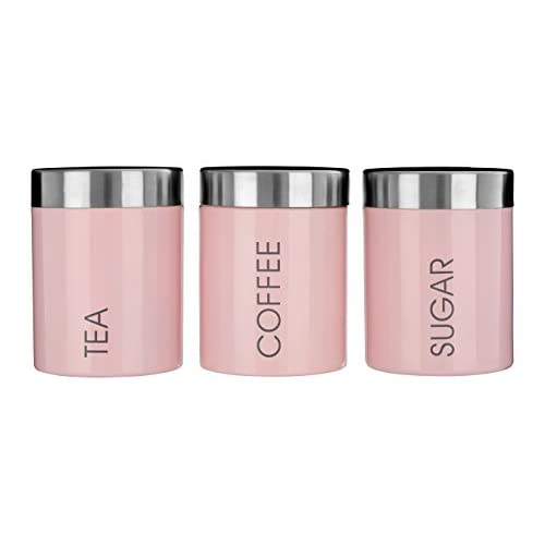 Premier Housewares Tea/Coffee/Sugar Canisters - Light Pink