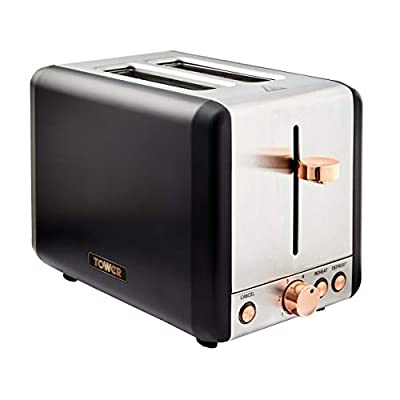 Tower T20051PNK Cavaletto 4 Slice Toaster, 7 Browning Settings and Removable Crumb Tray, Stainless Steel, 1800W, Pink and Rose Gold