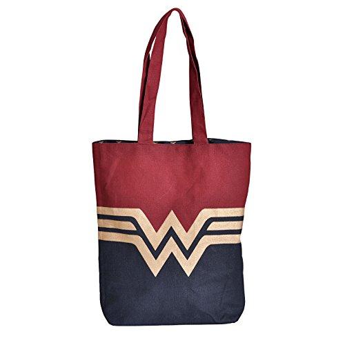 Mujer Maravilla bolso del comprador bolsa logotipo de DC Comics algodón 42x37cm azul rojo