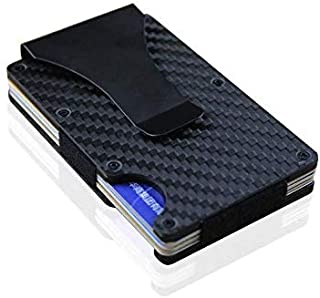 7mm Thin Metal RFID wallet Carbon Fiber Metal Rifd wallet Mini Money Clip Brand Credit Card ID Holder With RFID Anti-chief...