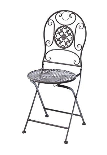 Kobolo Metallstuhl Gartenstuhl Vintage Nostalgie Stuhl aus Metall braun 91cm