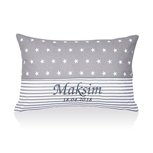 Amilian® Kissen 40 x 60 cm mit Namen Datum Sternchen Grau/Streifenmuster Grau