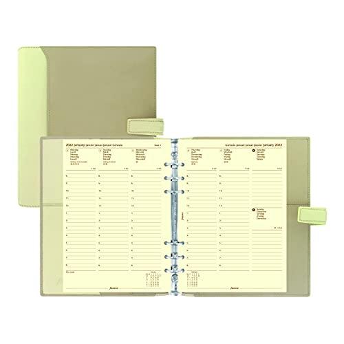 Filofax Nappa Organizer, A5 Size, Vanilla – Nappa Leather, Six Rings, Week-to-View Calendar Diary, Multilingual, 2022 (C025158-22)