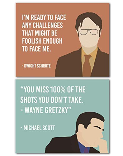 Dwight Schrute Michael Scott Quotes Set of 2 Wall Art Prints - Challenges/You Miss 100% Of The Shots - Funny Gift for Office Fans - 8x10 - Unframed