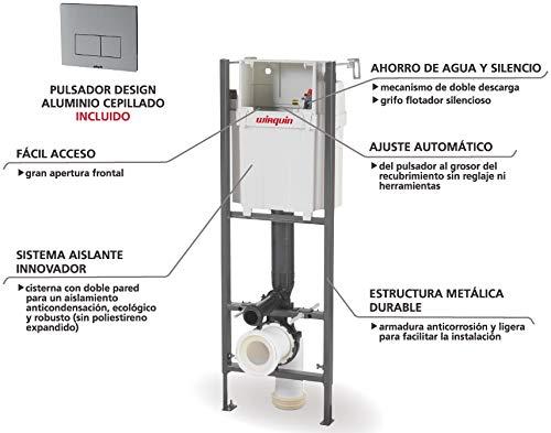 Wirquin pro – Cisterna empotrada con pulsador design aluminio para WC, 0,98-1,17 m Ref.55950018