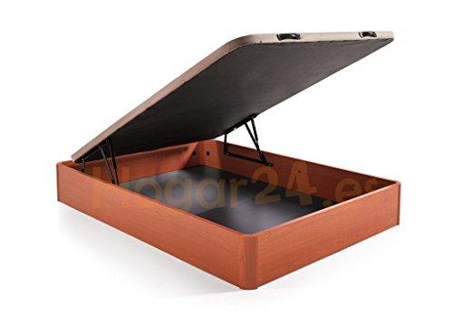 Hogar 24 Canapé Abatible Madera Gran Capacidad con Tapa 3D y Válvulas de Transpiración, con Esquineras en Madera Maciza, Color Cerezo, 90X190cm