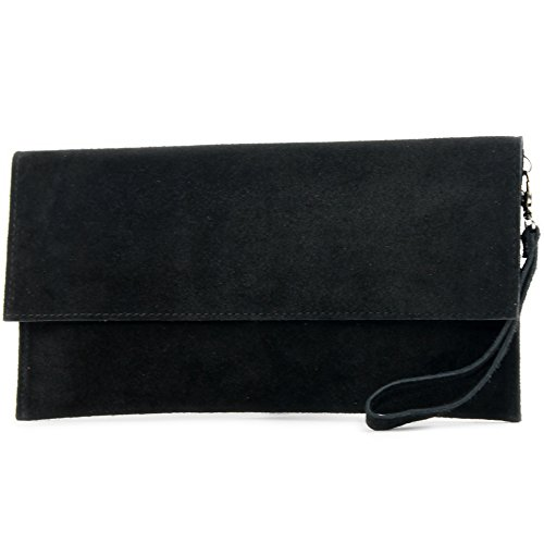 modamoda de - cuero italiano de embrague T151 Pequeño Gamuza, Color:negro