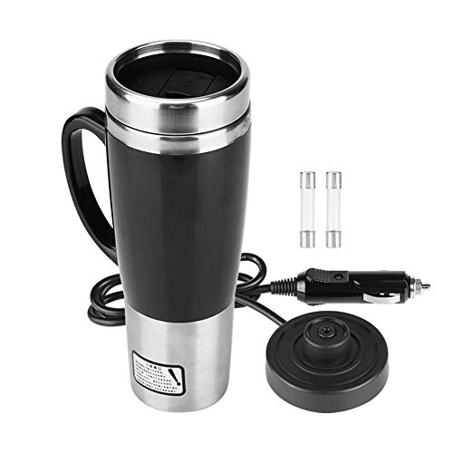 KIMISS 450ML 12V/24V Hervidor de acero inoxidable del coche Hervidor de agua de eléctrica en el coche - Hervidores de bebida de viaje Taza de café de viaje Botella de agua (Mug Negro)(12V)