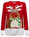 Janisramone Da Donna Uomo Nuovo Donne Albero di Natale Unisex Si Illumina Rudolph novità Top Vintage Maglione Jumper