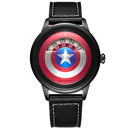 Towel Rings Vengadores Marvel Relojes De Pulsera Reloj para Hombre Hollow Captain America Shield Reloj De Moda Creativo Street Trend Belt Reloj para Hombre