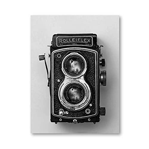 Rolleiflex, póster de cámara antigua, negro, blanco, Vintage, cámara, impresión, regalo inconformista, fotografía, arte de pared, lienzo, pintura, decoración Retro, 50x70cm, sin marco