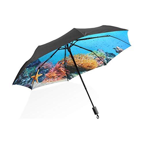Winddicht Regenschirm Für Frauen Faszinierende Korallen Unterwasser Tragbare Kompakte Taschenschirm Anti Uv Schutz Winddicht Outdoor Reise Frauen Riesen Sonnenschirm