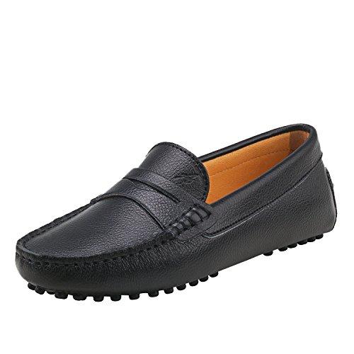 Shenduo Mujer Zapatos de Cuero - Mocasines Casuales Moda Zapatos Planos Mocasín Slip-on para Mujer D7052 Negro 41