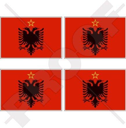 Albanie Albanie drapeau 1946–92 Varsovie Pacte 5,1 cm (50 mm) bumper-helmet en vinyle autocollants, Stickers x4