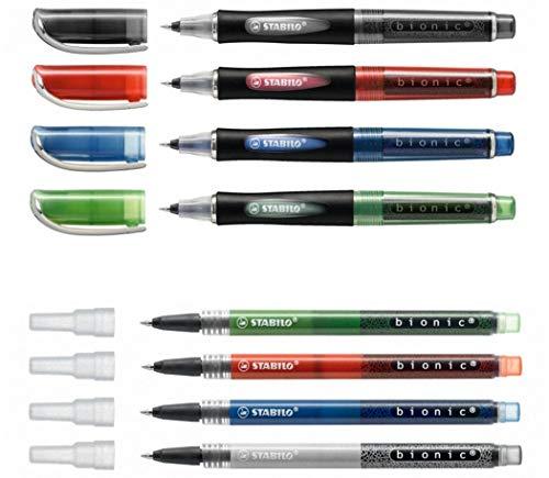 Tintenroller STABILO® bionic®, 0,4 mm, Set 4 Farben + 4 Patronen