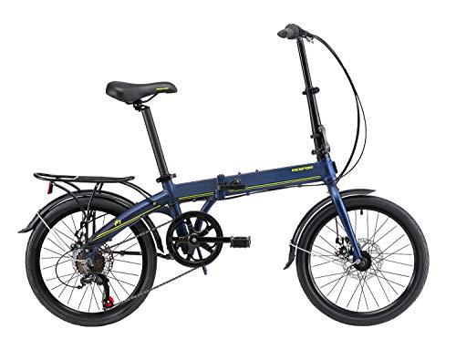 KESPOR K7 Folding Bike for Adults, Women, Men, Rear Carry Rack, Front and Rear Fenders, Shimano 7 Speed Aluminum Easy Folding City Bicycle 20-inch Wheels, Disc Brake (Navy)