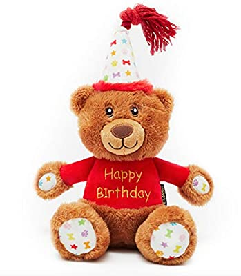 PET LONDON Happy Birthday Bear Dog Toy - Present to Celebrate Dog's Bday or Adoption - Soft Plush Teddy Gift for Dog or Pup with Embroidered Birthday Message, Squeaky, Stylish Great Animal Gift
