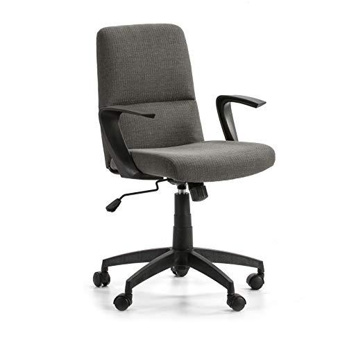 VS Venta-stock Sillón de Oficina elevable y reclinable Teo tapizado con Telas, Color Gris Oscuro, Pata en Negro