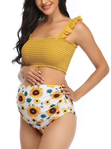 Maternity High Waist Bikini Swimsuit Two Piece Ruffled Hem Cute Floral Bathing Suit Yellow L