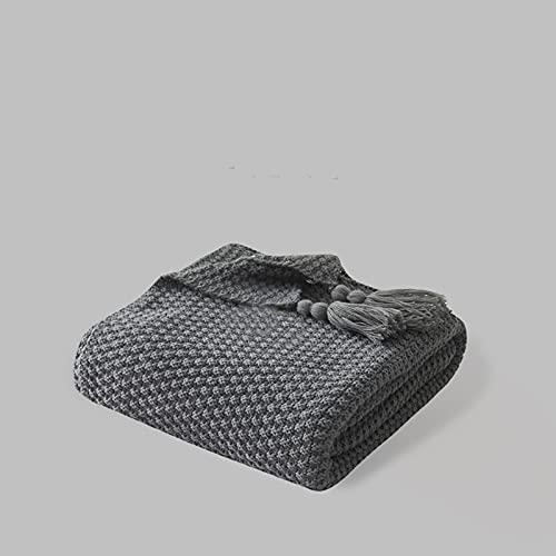Volltonfarbe Kuscheldecken,Gestrickte Reversible Decken Nordic Sofadecke Einzelnen Schal Kuscheldecke Super Soft Wrap Throw Decke Leicht Tagesdecke-Rauchgrau 110cm×150cm