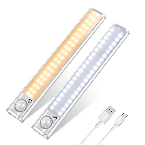 LED Schrankleuchten, Schrankleuchte mit Bewegungssensor, 80 LED mit 3 Farben, wiederaufladbare dimmbare unter Schrank Magnetische Beleuchtung unter dem Schrank für Kleiderschrank/Treppe/Küche (2 Pack)