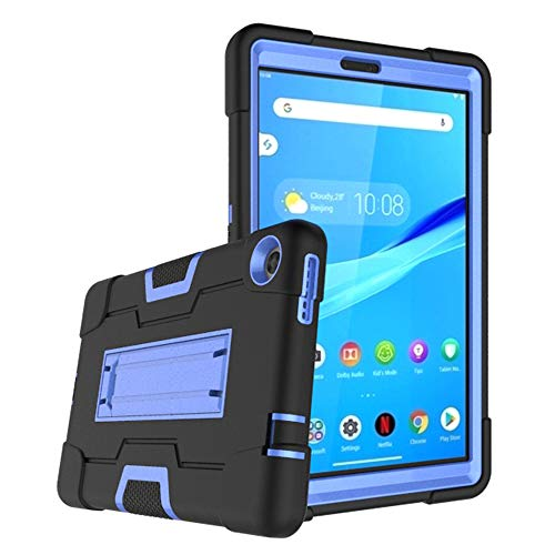 Mignova for Lenovo Tab M8 8.0 Inch Case,Hybrid Three Layer Full-Body Shockproof Armor Defender Full-Body Rugged Protective Case Cover with Stand for Lenovo Tab M8/M8 Smart Tab 8.0 Inch (Black/Blue)