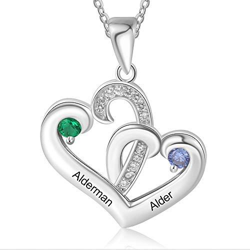 Collar Personalizado con 2 Nombres de Plata 925 Grabado Corazón Colgante Madre Hija Collar Regalo para el Día de la Madre San Valentín (estilo 1)